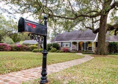 Black Steel Mailbox Post Model 79 Landscape